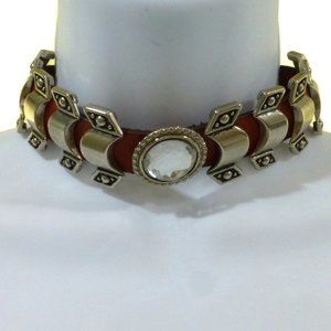 Womans XXS - XS Choker Red Leather Goth Dog Collar